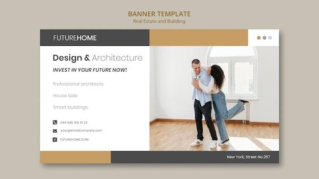Modello di banner immobiliare con foto