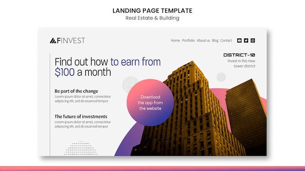 Real estate and building landing page