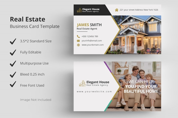Шаблон визитной карточки недвижимости