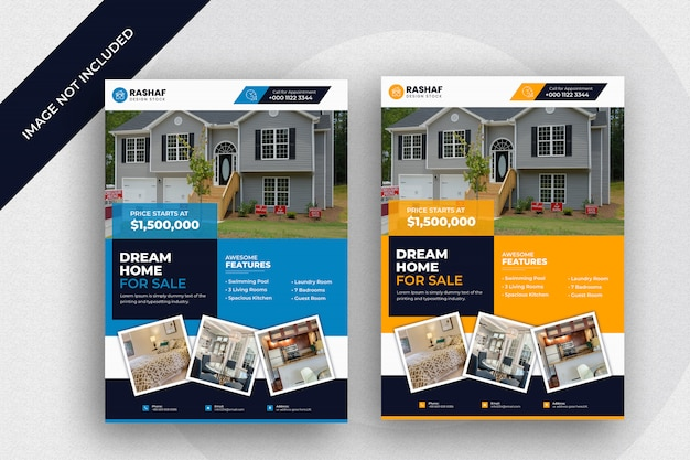 Real estate business modern home for sale flyer design template  premium