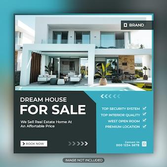 부동산 비즈니스 소셜 미디어 게시물 및 사각형 전단지 템플릿 디자인