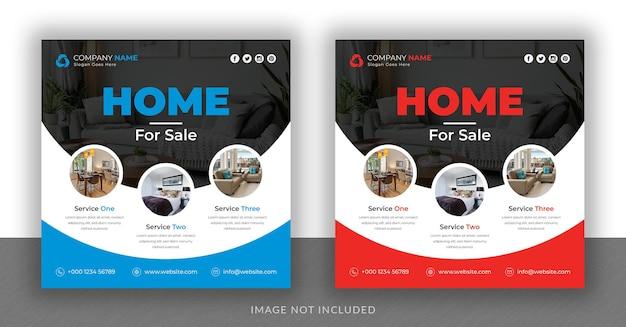 Real estate business social media post banner and square flyer design template design