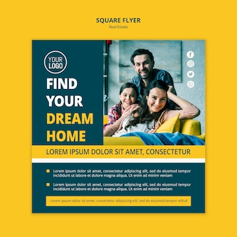 Real estate concept square flyer template