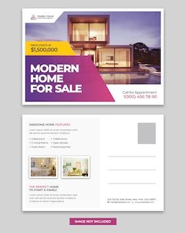 Real estate home for sale postcard design template