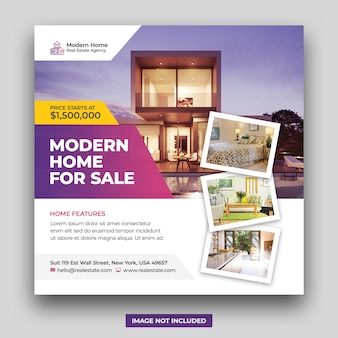 Real estate home for sale social media banner & square flyer template