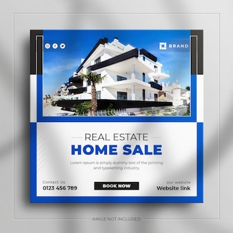 Real estate home for sale social media post banner and square web banner advertising template