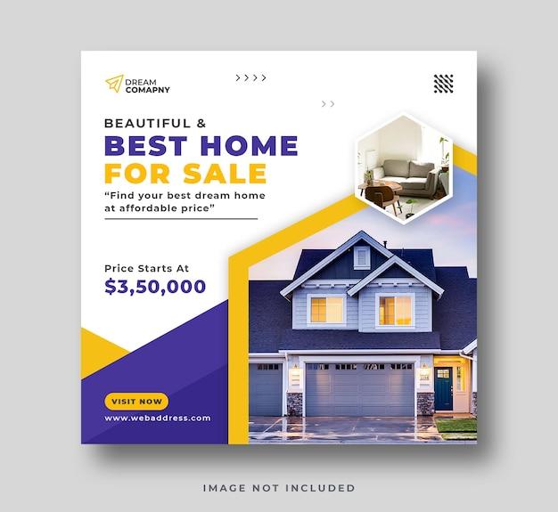 Real estate home sale social media post or square flyer