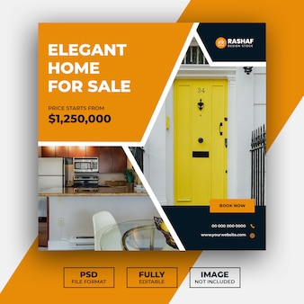 Real estate home sale social media post and web banner template