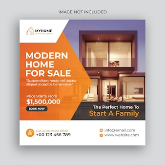 Real estate home for sale social media post and web banner template