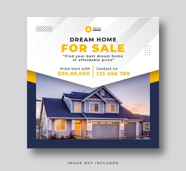 Real estate home sale social media post or web bannre