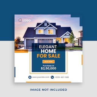 부동산 주택 판매 광장 소셜 미디어 배너 템플릿