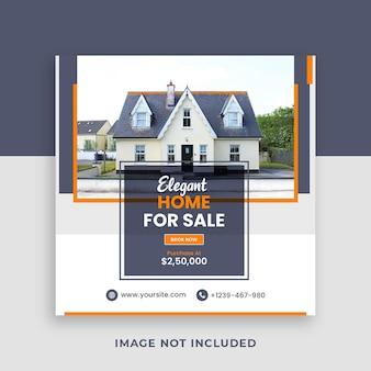 Real estate home sale square social media banner template
