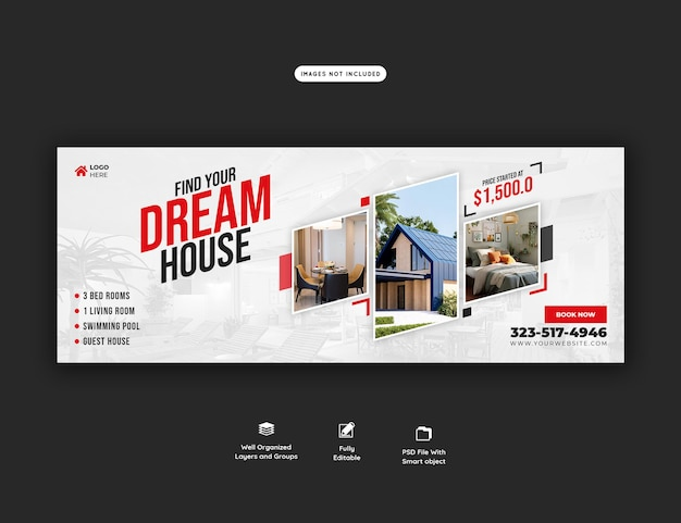 Real estate house property facebook cover banner template