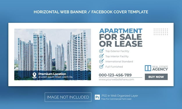Real estate house property horizontal banner or facebook cover advertising template