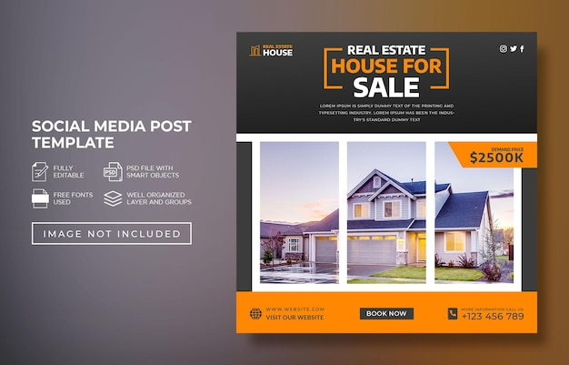 Real estate house property instagram post or social media post advertising template premium psd