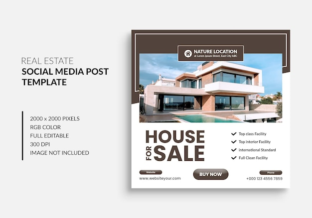 Real estate house property instagram post or square web banner advertising template