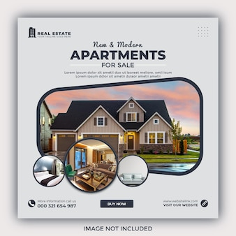 Real estate house property instagram post or square web banner promo