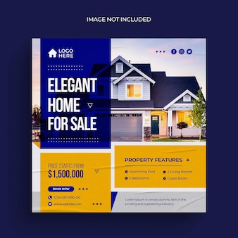 Real estate house property social media post web banner flyer and instagram post template
