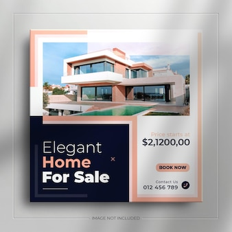 Баннер для продажи недвижимости в социальных сетях для публикации в instagram с чистым макетом