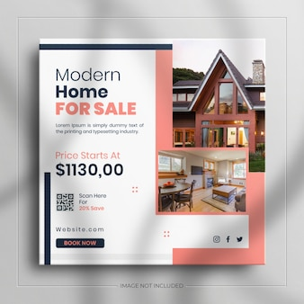 깨끗한 모형으로 instagram 이야기를 위한 부동산 주택 광장 소셜 미디어 판매 배너