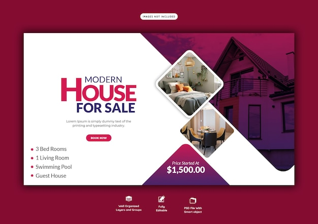 Real estate house property web banner template