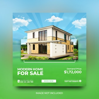 부동산 주택 판매 촉진 소셜 미디어 포스트 템플릿