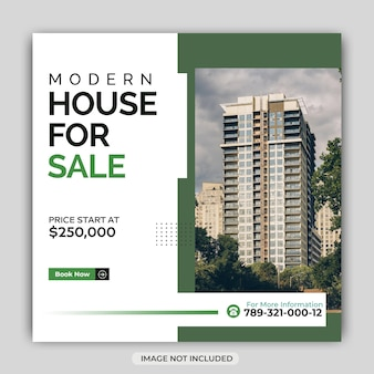 Real estate house social media post or instagram square banner template