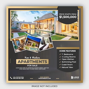Пост в социальных сетях о недвижимости или шаблон квадратного баннера