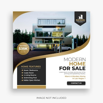 Real estate house social media post or square banner template