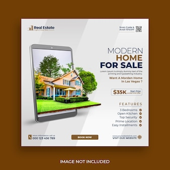 Real estate house social media post or square banner template Premium Psd