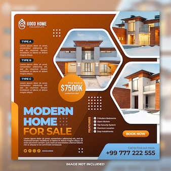 Real estate house social media post square banner template