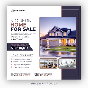 Real estate house social media post or square flyer template
