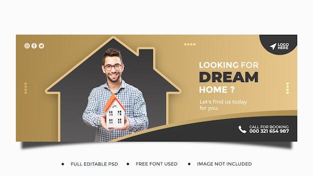 Real estate house social media post web banner template