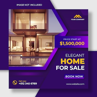 Real estate instagram post social media and web banner template