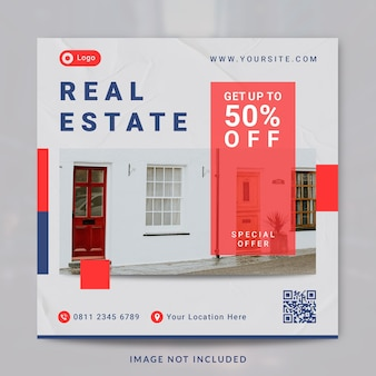 Real estate interior house property instagram post and banner template