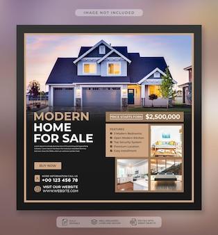 Баннер в социальных сетях о продаже элитного дома и шаблон сообщения в instagram