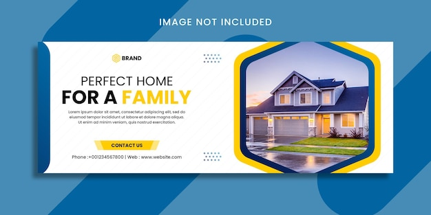 Real estate modern house property selling web banner or facebook cover template