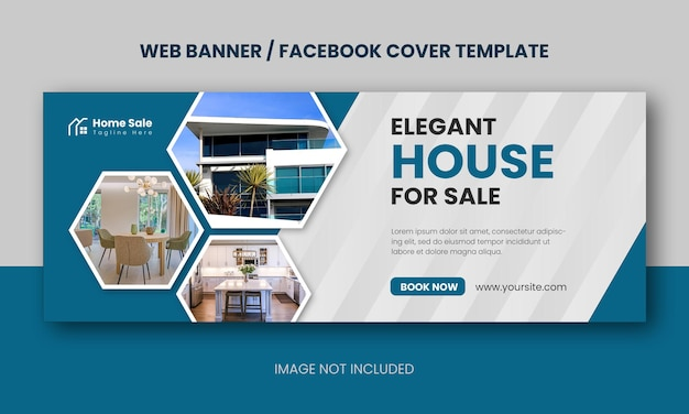 Real estate modern house property selling web banner or facebook cover