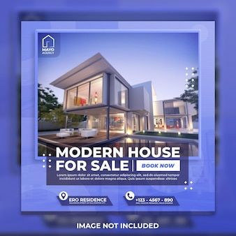 Шаблон в социальных сетях современного дома недвижимости и пост в instagram