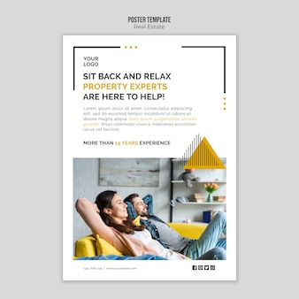 Real estate poster template concept