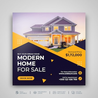 부동산 부동산 판매 전단지 홍보 소셜 미디어 게시물 템플릿 psd
