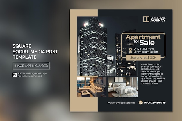 Сообщение о недвижимости в социальных сетях или рекламный шаблон для квадратного веб-баннера