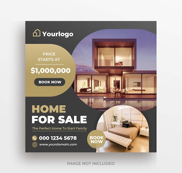 Real estate for sale banner instagram post or square flyer template
