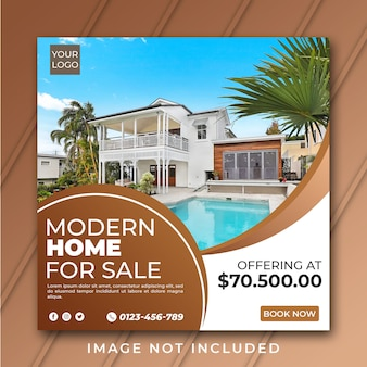 Real estate for sale instagram post or flyer square template psd