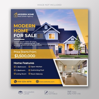 Real estate sale social media banner square flyer template