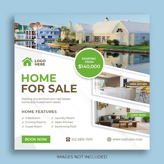 Real estate sale social media square flyer template