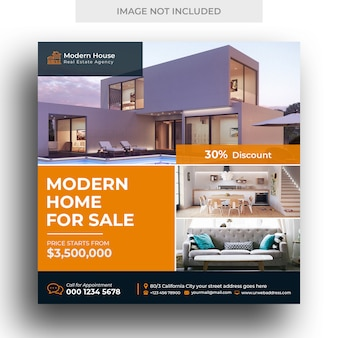 Real estate баннер в социальных сетях и квадратный флаер шаблон