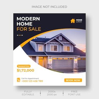 Social media immobiliare o modello di banner post instagram