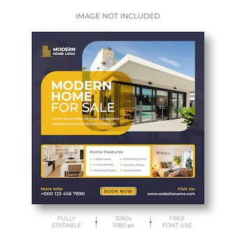 Real estate social media instagram post and banner template