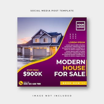 不動産ソーシャルメディアのinstagramの投稿または正方形のwebバナー広告テンプレート